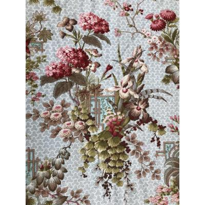 Rideaux Tissu Textile Tentures Etoffe Ancien  En Cotonnades XIXème Siecle