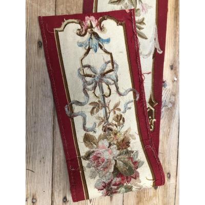 Tapisserie Aubusson Verdure Bordure TENTURE PORTIERE SAVONNERIE  Tissu FRANCAIS XIXème Siecle