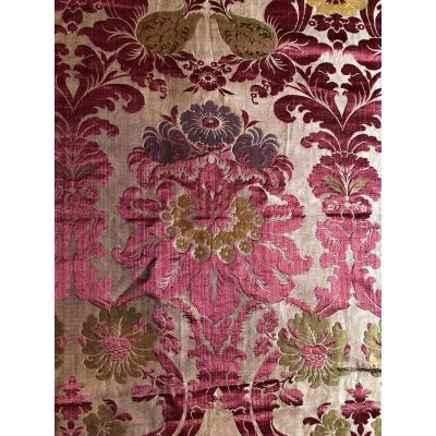 Brocatelle Lampas Damas Soierie Textile Tissu De Style Lxiv   XIXème Siecle Metier Jacquard