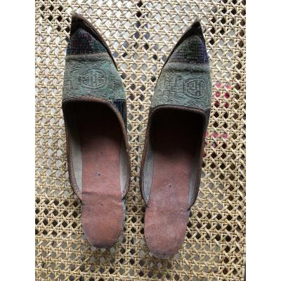 Shoe Soulier Clothing Old Debut XIXth Asia Vietnam Silk And Leather