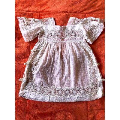 Nineteenth Century Child Doll Dress Embroidered Lace Fabric Old  Textile