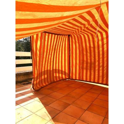 Tente De Plage Cabine Grosse Toile Tissu ANCIEN Textile Decoration Debut XXème Siecle