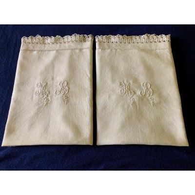 Paire De Taies D Oreiller XIXème Siecle Linge Tissu Textile Ancien Broderie Monogramme Mb