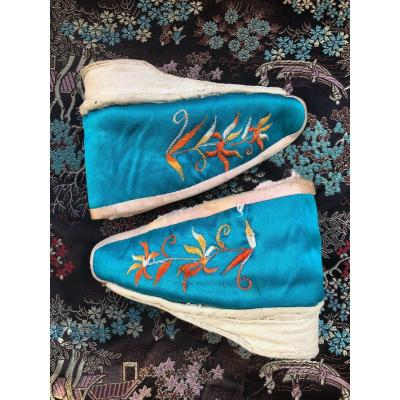 Costume Shoe Fabric Old Nineteenth Century China Embroidery