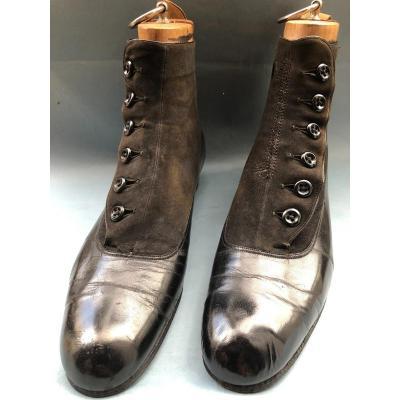 Bottine Chaussure A Boutons Homme XIXème Siecle Costume Tissu Ancien