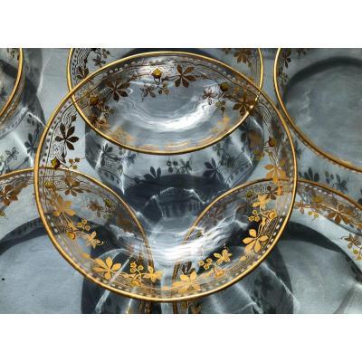 12 Coupes En Cristal BACCARAT SAINT LOUIS XIXème Siecle Dorees A L Or , Emaillees , Baguier