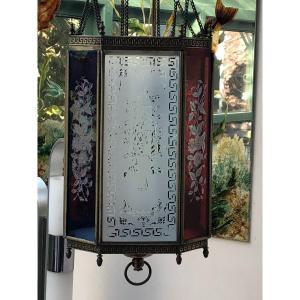 Lanterne  Suspension Luminaire Lampe A Petrole Napoleon III A Plaque En Verre Grave XIXème