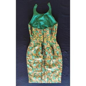 Robe De Cocktail Haute Couture Anonyme Annee 1950 Soie Brochee A L Or Textile Ancien