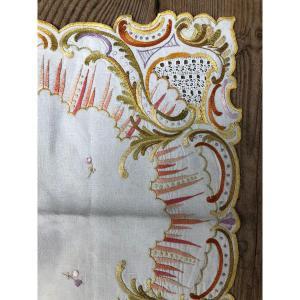 Textile Ancien XIXème Siecle Broderie Napperon Service De Table Nappe Serviette