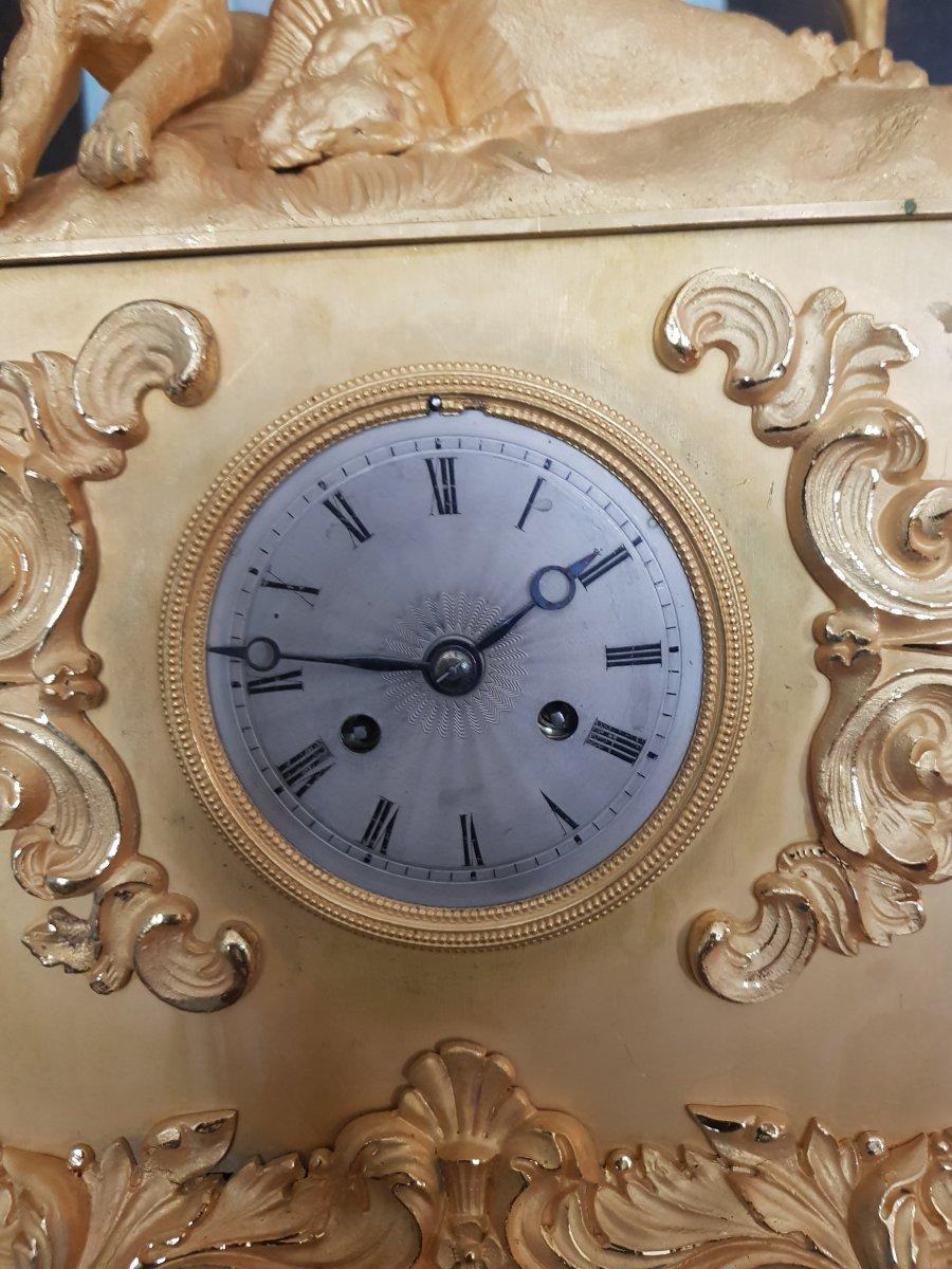Gilt Bronze Clock, Restoration Period, Around 1830-photo-4