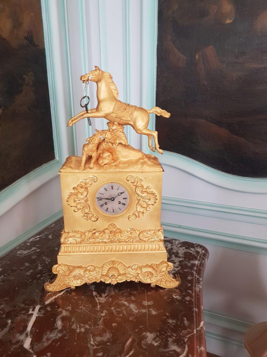 Gilt Bronze Clock, Restoration Period, Around 1830