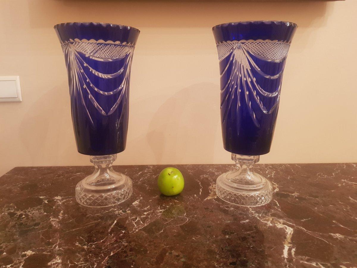 Paire De Vases Medicis En Cristal,