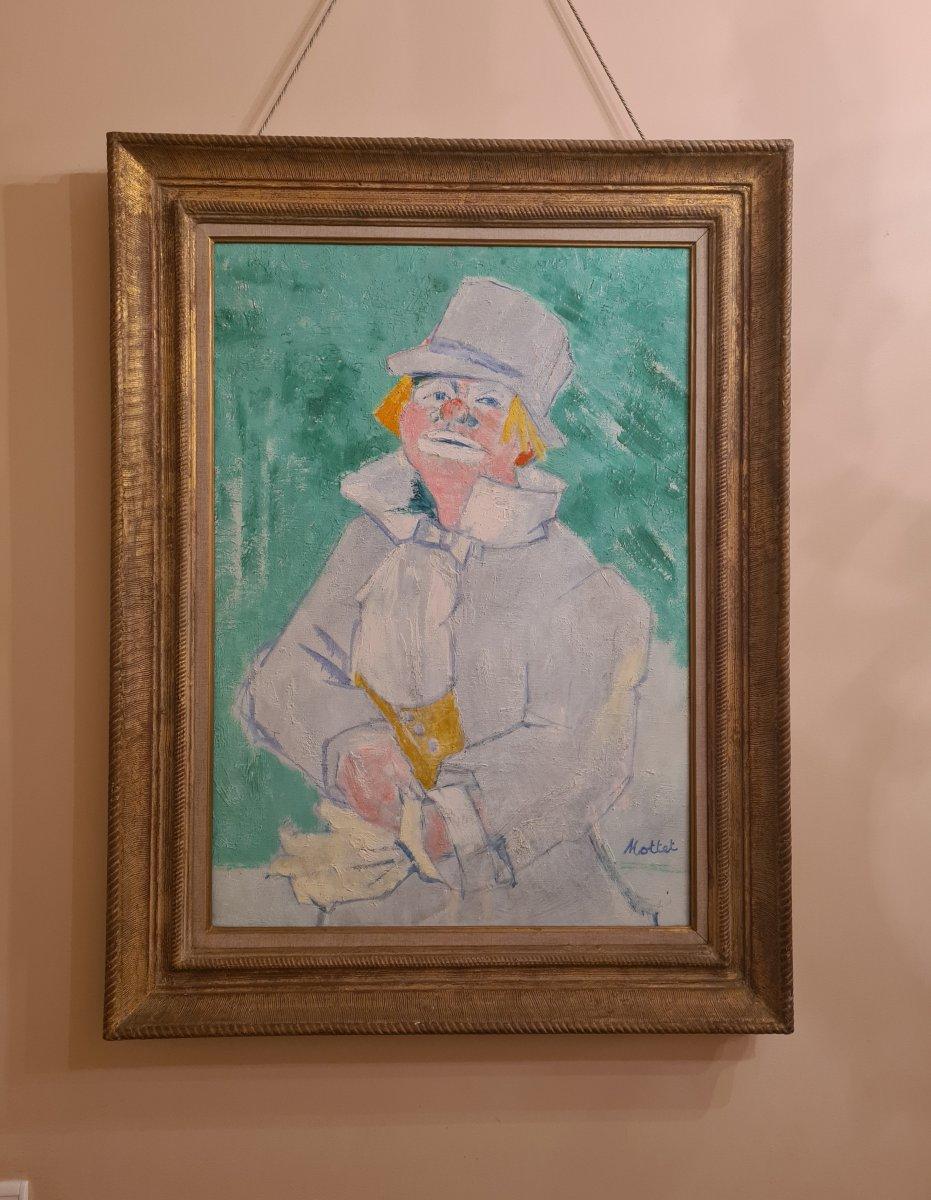 Yvonne Mottet (1906-1968) The Clown, Oil On Canvas, Ecole De Paris, The Young Painting-photo-2