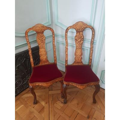 Pair Of Dutch Chairs, Late Nineteenth, In Marquetry Of Flowers.