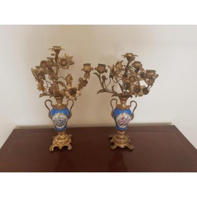 Paire De Candélabres En Porcelaine Et Bronze Doré. Style Louis XVI, Vers 1880
