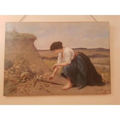 Tableau Fin XIXème , Gaston De Monnecove (1836-1899), La Chercheuse De Trésors.