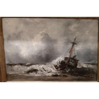 Tableau XIXème -bateau échoué -  Gallard Lepinay (1842-1885).
