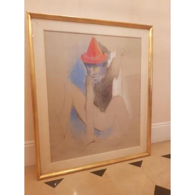 Yvonne Mottet (1906-1968) , Esquisse , Crayon Gras , Signé , intitulé