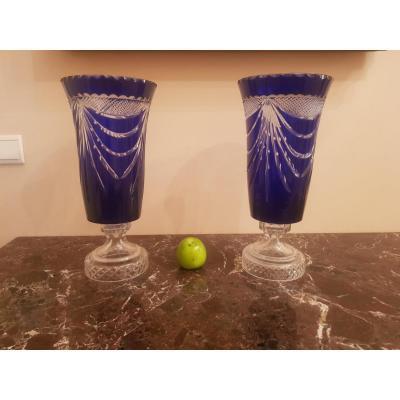 Pair Of Medicis Crystal Vases,