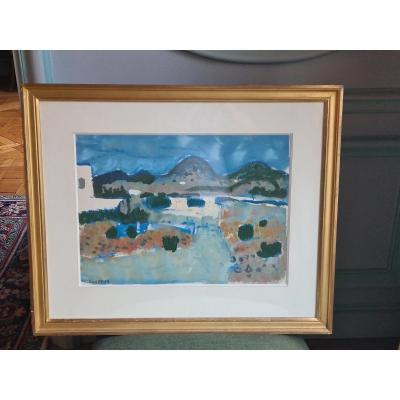 Raymond Guerrier (1920-2002) - Aquarelle Et Gouche Signée En Bas à Gauche Au Crayon -  36x50cm