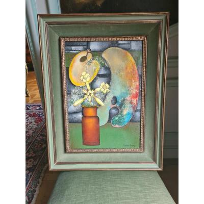 """Pierre-henry (1924-2015) , huile sur toile , """"bouquet de fleurs """" 57x40cm"""