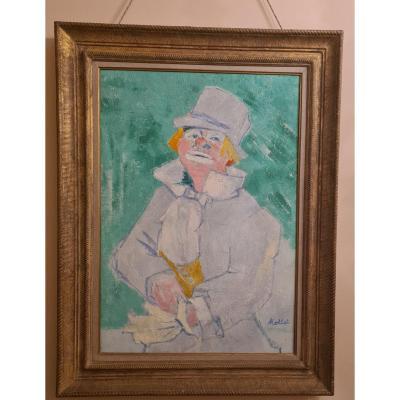 Yvonne Mottet (1906-1968) The Clown, Oil On Canvas, Ecole De Paris, The Young Painting