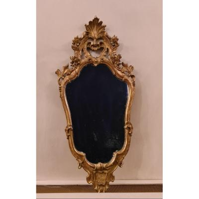 Eighteenth Style Golden Wood Fronton Mirror, Northern Italy, Probably Venice, Late 19th