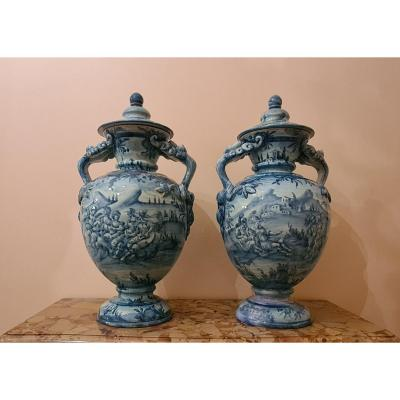 Large Pair Of Cantagalli Earthenware Vases, Late Nineteenth.