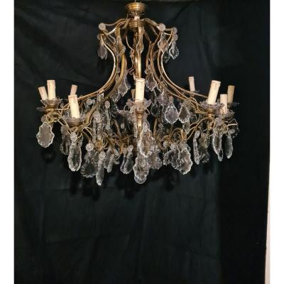 Lustre En Bronze Doré Et Cristal, 12 Bras De Lumières,  Maison Lucien Gau