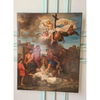 « La Lapidation De Saint Etienne », D'après Charles Le Brun, Hst , France Début XVIIIème.