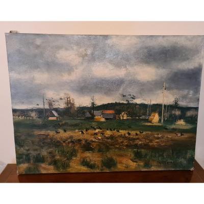 Gaston Sebire (1920-2001) Les Corbeaux , Hst 61x81, Sans Cadre.