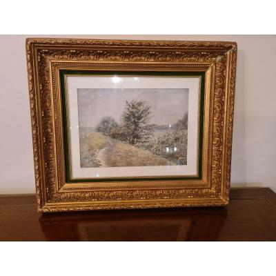 Harpignies (1819-1916) Aquarelle 22x31 cm