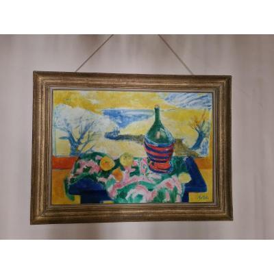 Yvonne Mottet (1908-1986), Nature Morte à La Bouteille Et Aux Pommes , 81x116