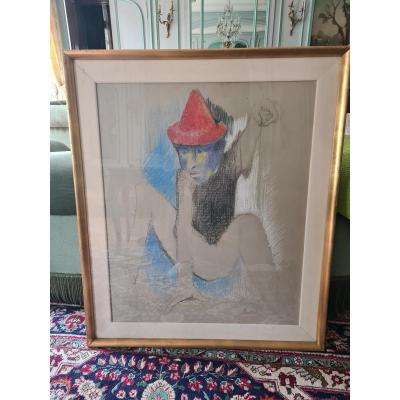 Yvonne Mottet (1908-1986) Le Clown, 93x74, Gras Pencil, Signed.