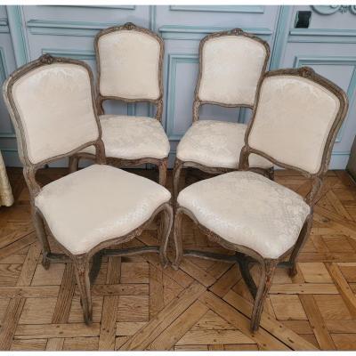 Suite De 4 Chaises , époque Louis XV, En Bois Laqué.