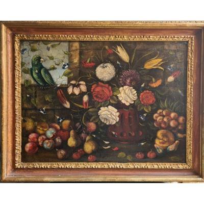 Ecole Italienne 2ème moitié  du XVIIIème , Nature Morte Aux Fruits, Fleurs Et Au Perroquet