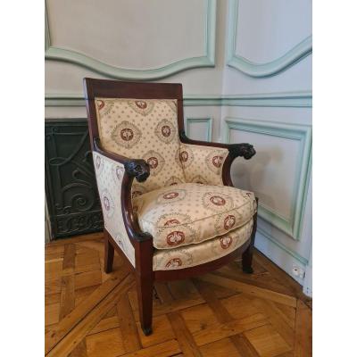 Superbe Bergère En Acajou Et Placage Acajou , Att à Jacob Freres Rue Meslee (1796-1803)