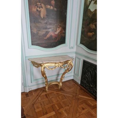 Console époque Louis XV, Vers 1760, En Bois Sculpté Et Redoré.