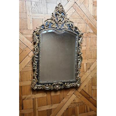 Miroir Napoléon III , à riche décor de  bronze doré