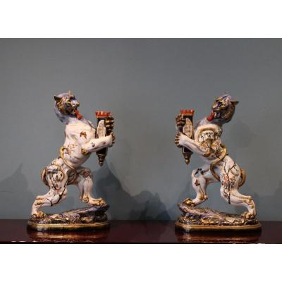 Pair Of Tiger Torches Signed Majorelle Nancy