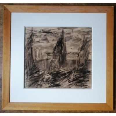 Charcoal Charles Fromuth, Concarneau, Brittany