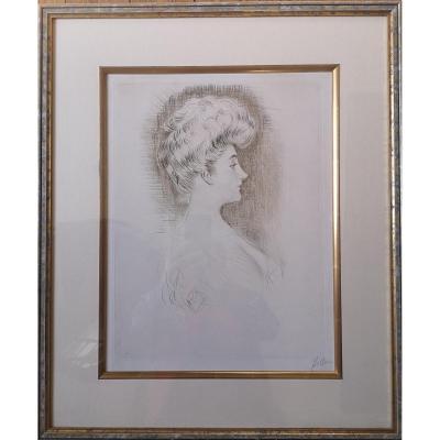 Paul César Helleu, Pointe Sèche Woman In Profile Ca 1895