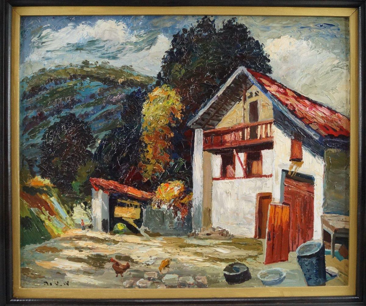 """Ecole Hongroise du XXème """" Cour de ferme"""" par Maurice Vagh Weinmann (1889-1986)"""