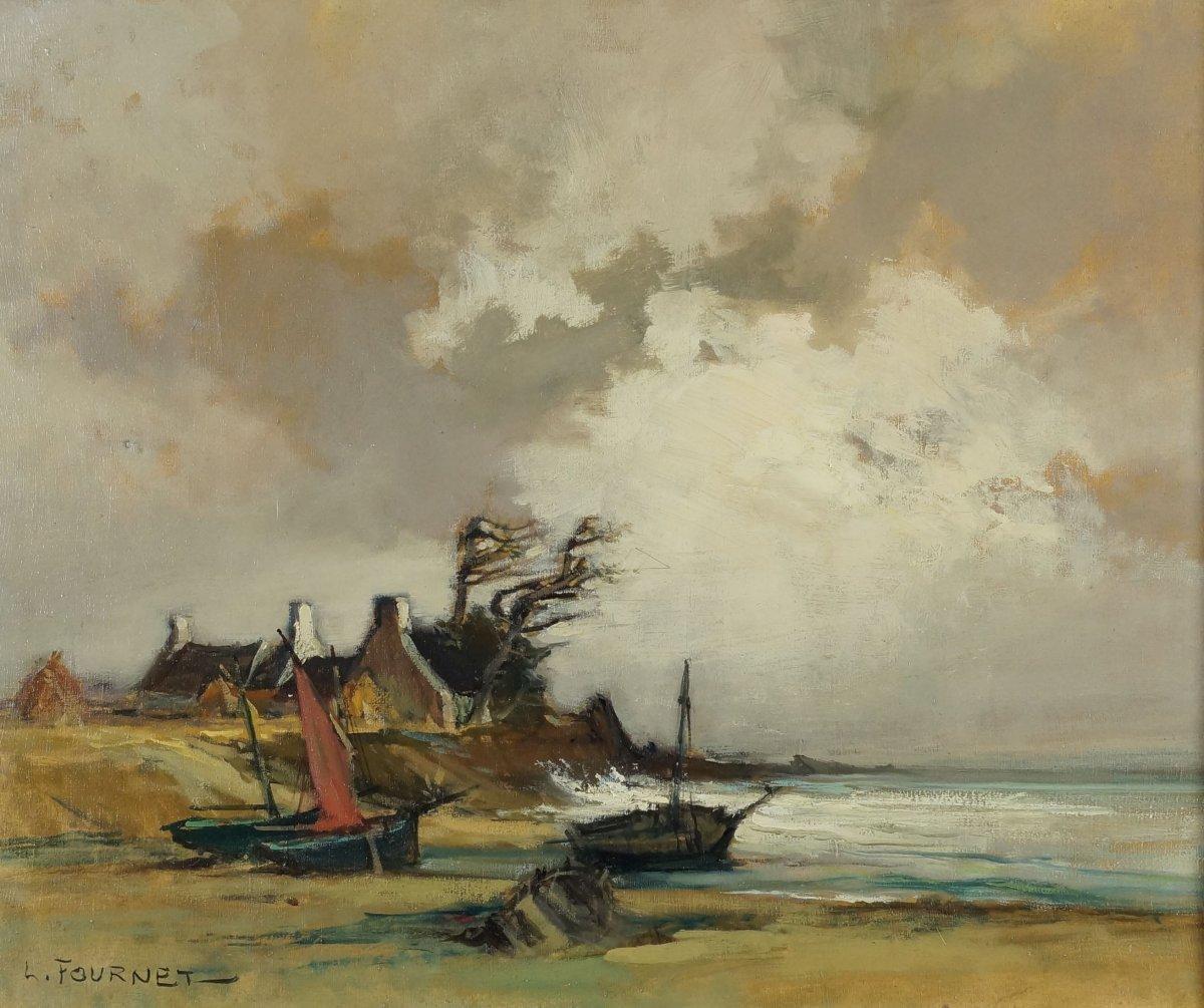 Ecole Française du XXème «Marine Bretonne à marée basse à Lescornil» Par Lucien FOURNET (1902-1975)
