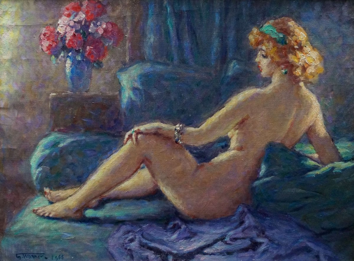 Ecole Française du XXème « Femme nue, allongée sur son divan »  Georges Warner, datée de 1964.