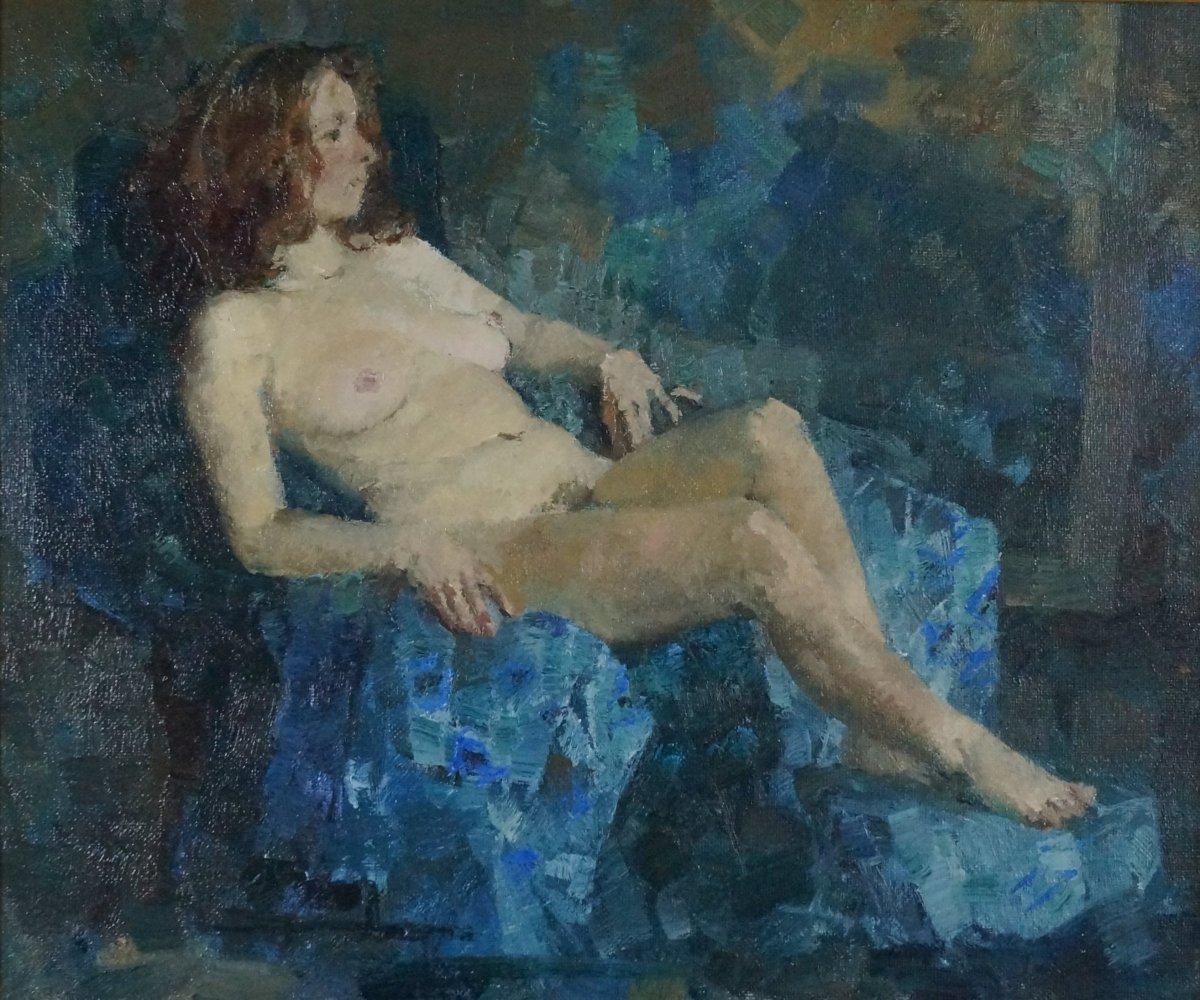 Ecole du XXème « Femme nue à L'étoffe bleue » par Anonyme.-photo-2