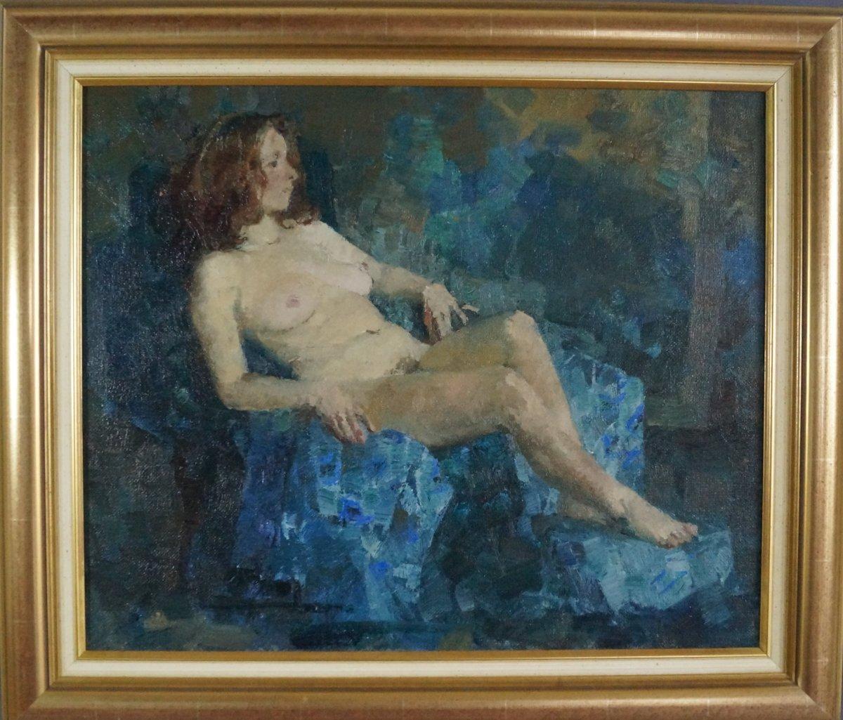Ecole du XXème « Femme nue à L'étoffe bleue » par Anonyme.-photo-3