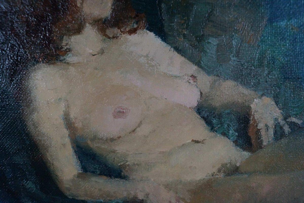 Ecole du XXème « Femme nue à L'étoffe bleue » par Anonyme.-photo-4