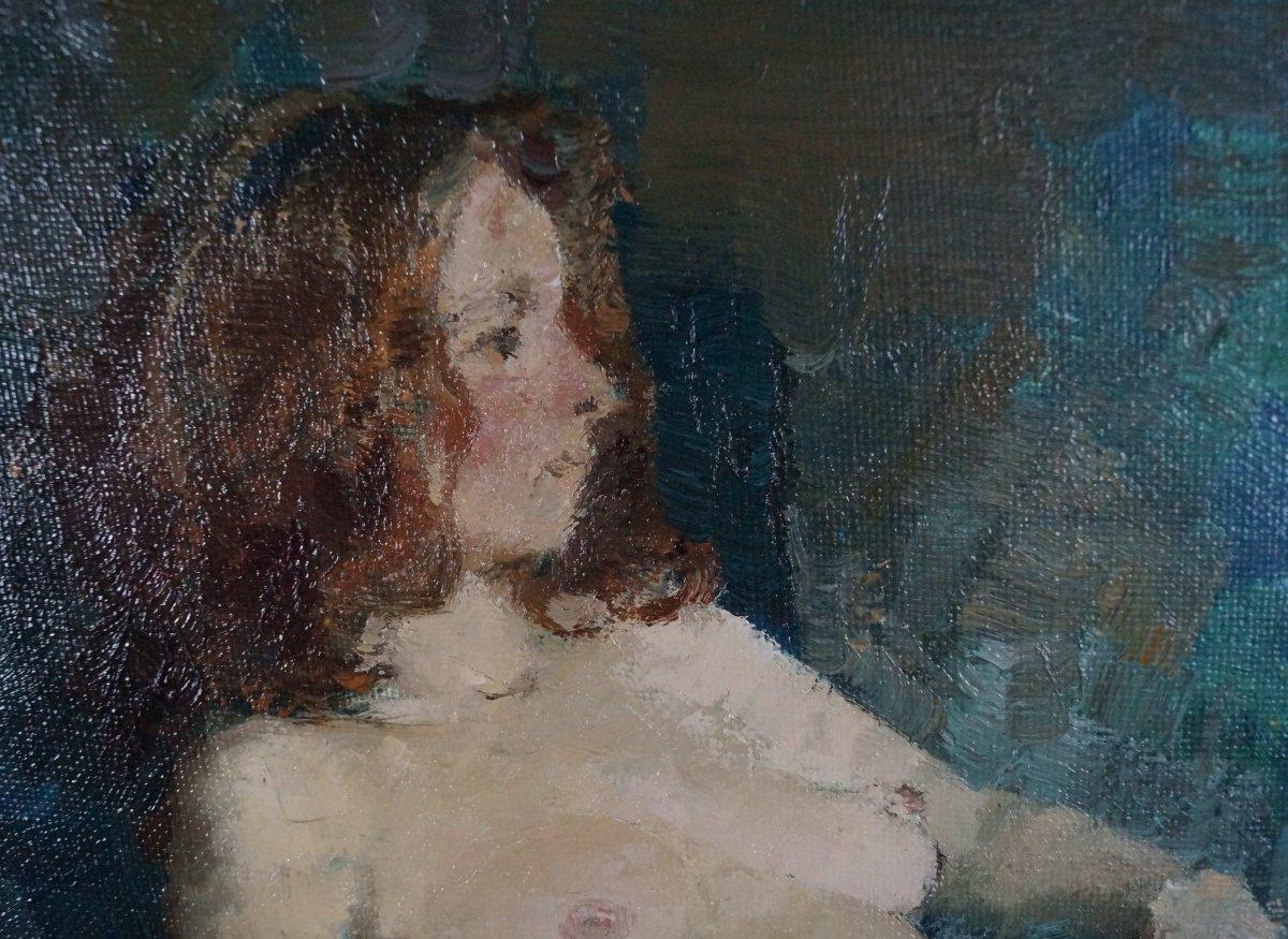 Ecole du XXème « Femme nue à L'étoffe bleue » par Anonyme.-photo-1