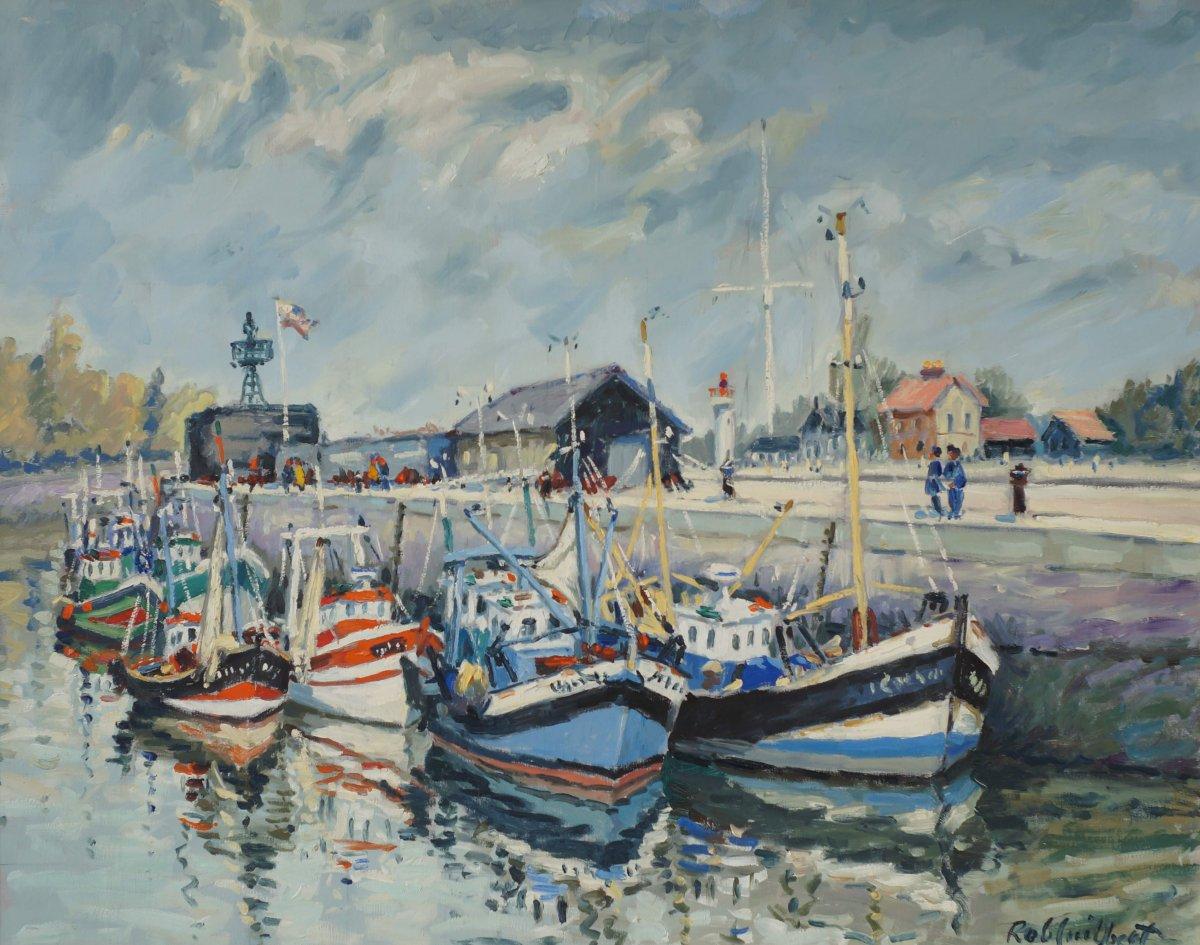 Ecole Française du XXème « Honfleur, barques et môle central »  par Robert Guilbert (1920-1992).